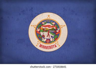 Minnesota flag on fabric texture,retro vintage style
