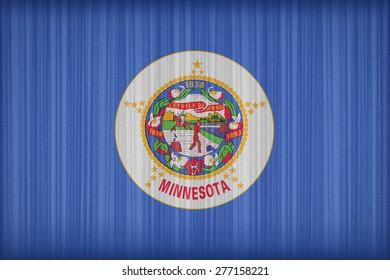 Minnesota flag pattern on the fabric curtain, vintage style