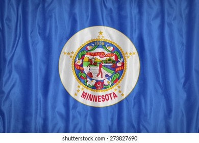 Minnesota flag pattern with a peace on fabric texture,retro vintage style