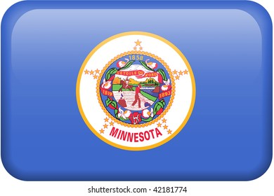 Minnesota flag rectangular button.  Part of set of US State flags all in 2:3 proportion with accurate design and colors.