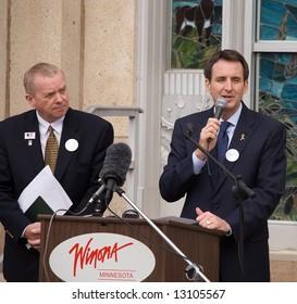 Minnesota Governor Tim Pawlenty and Minnesota Representative Gene Pelowski at the Capital for a day program in Winona, Minnesota on May 16, 2008.