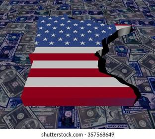 Minnesota Map flag on dollars illustration