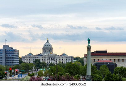 Minnesota State Capitol Building View From Cathedral of Saint Paul at Late Afternoon