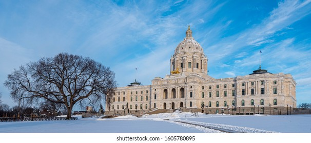 Minnesota State Capitol in Winter in Saint Paul, Minnesota
