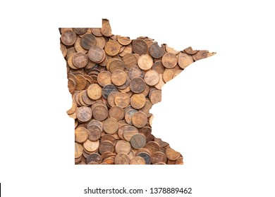 Minnesota State Map and Money Concept, Piles of Coins, Pennies