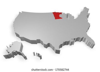 Minnesota state on Map of USA 3d model on white background