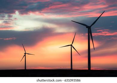 Minnesota Windmills At Sunset