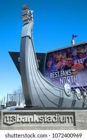 MINNESOTA-MINNEAPOLIS APRIL6, 0218:  Longship boat in front of US Bank Stadium, the home of the Minnesota Vikings