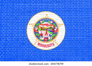 Minnesotan official flag, symbol. American patriotic element. USA banner. United States of America background. Flag of the US state of Minnesota on brick wall texture background, 3d illustration