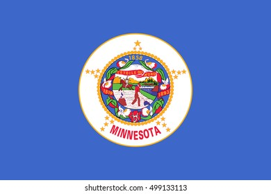 Minnesotan official flag, symbol. American patriotic element. USA banner. United States of America background. Flag of the US state of Minnesota in correct size and colors, illustration
