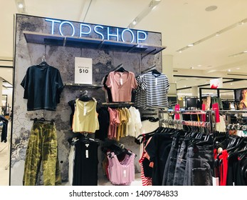 Minnetonka, Minnesota - May 27, 2019: A TopShop display inside of a Nordstrom department store. This is a trendy brand of clothing geared towards teens and young adult women