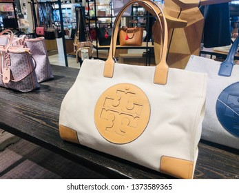 Minnetonka, MN - April 18, 2019: Luxury Tory Burch brand designer purses and handbags on display at a Nordstrom store
