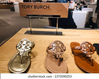 Minnetonka, MN - April 18, 2019: High end designer Tory Burch brand Millers sandals on display in a shoe department of a Nordstrom mall store