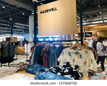 Minnetonka, MN - April 18, 2019: A Madewell women's clothing display inside of a Nordstrom store. Madewell and Nordstrom have a partership to carry the brand inside their department stores