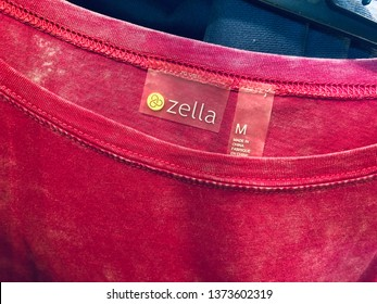 Minnetonka, MN - April 18, 2019: Close up of a women's Zella brand pink shirt for sale at a Nordstrom retail store. This is their store brand athleisure / athletic wear clothing