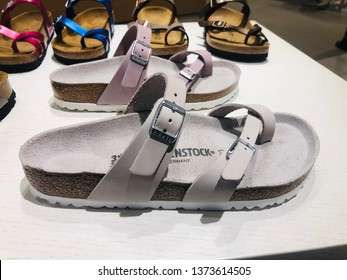 Minnetonka, MN - April 18, 2019: Birkenstock buckle sandals on sale at a Nordstrom department store.  The company is a famous German brand of buckled sandals