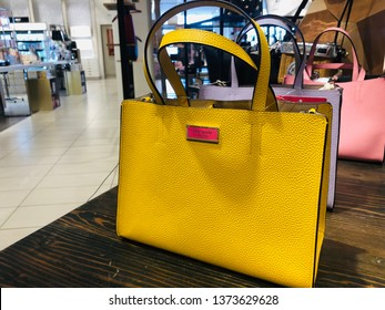 Minnetonka, MN - April 18, 2019: Kate Spade brand handbags on display at a Nordstrom department store.