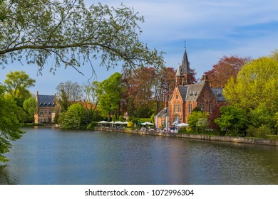Minnewater castle in Brugge Belgium - architecture background