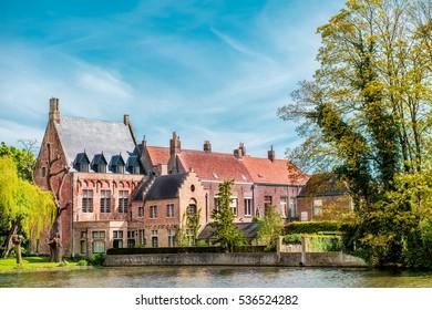 Minnewaterpark in Bruges (Brugge), Belgium