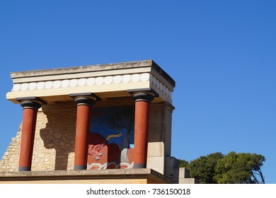 Minoan painting under a small overhang famous to the ancient Greek island of Crete