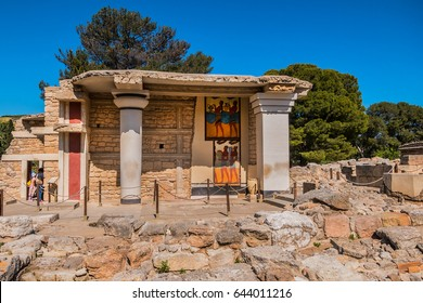 Minoan palace at Knossos on Greek Mediterranean Island of Crete partially reconstructed by English archaeologist Arthur Evans. Detail of ancient ruins.