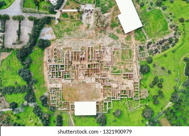 Minoan Palace of Malia, Crete, Greece is the third largest on the island, but with a strategic important position on the north coast, aerial photography