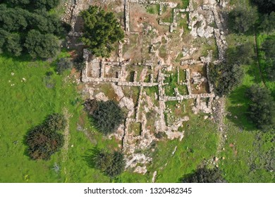 Minoan site in Makry Gialos features the archaeological site of an ancient Minoan country house built ca. 1200 B.C. aerial photography