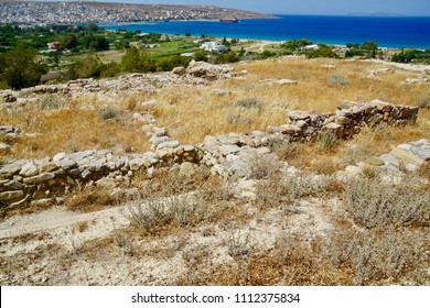 Minoan site at Petras close to the town of Sitia, Crete overlooking the sea from a small plateau. There is evidence that a palace got built  and houses. Inscriptions like the Minoan axe can be found