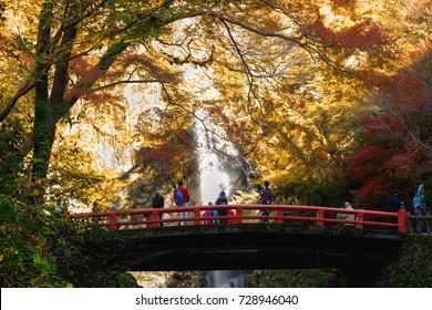 Minoh waterfall in autumn season, Osaka Japan, Beautiful waterfall in osaka japan, Minoh Park