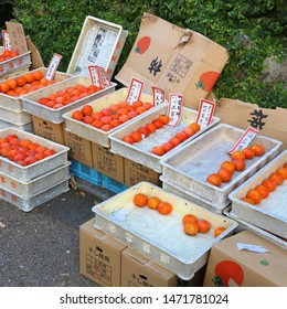 MINOO, JAPAN - NOVEMBER 22, 2016: Persimmon and pomegranate fruit varieties in Minoo, Osaka. Japan autumn includes celebration of persimmon (kaki) fruit harvest.