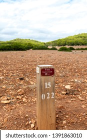 MINORCA-SEPTEMBER-19:a wooden sign on the Cami de Cavalls coastal walk in Minorca island,September,19,2017.
