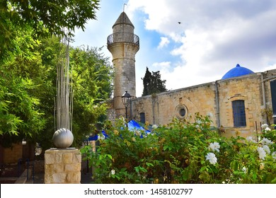 minoret of old turkish mosque, walk through the Old Town of Safed, center of Kabbalah and jewish mysticism in Upper Galilee, Israel