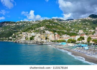 Minori, a small town on the Amalfi coast (Tyrrhenian Sea) and a popular tourist destination