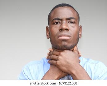 Minority Business Man With Sore Throat
