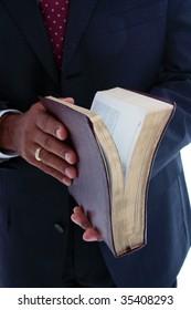 Minority pastor set on a white background