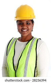 Minority woman construction worker on a white background