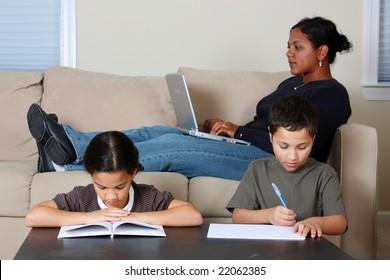 Minority woman and her children