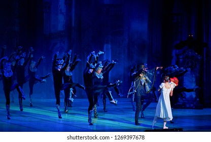 """Minsk - 15 Jun 2018. Ballet """"The Nutcracker, or another Christmas story..."""". Hordes of mice fill the room led by Drosselmeier himself in aspect of the Mouse King and scare Masha - Victoria Trenkina"""