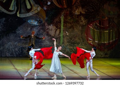 """Minsk - 15 Jun 2018. Ballet """"The Nutcracker, or another Christmas story..."""". Chinese dancers try to teach Masha their complicated pas. Bolshoi Opera and Ballet Theatre of Belarus"""