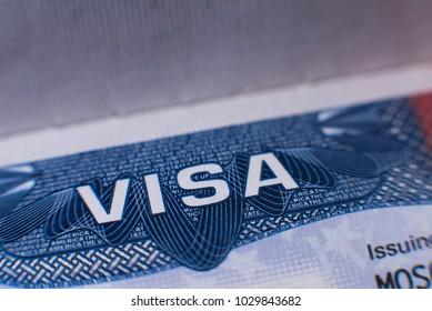 """Minsk, 2018. Inscription """"VISA"""" in passport close up"""