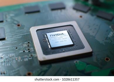 Minsk, 2018. Nvidia graphic chip close up