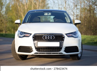 Minsk, April 24, 2014: New Audi A1 hatchback car recently drove from Moscow and parked on the street in Minsk.