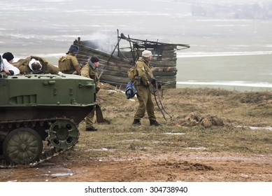 MINSK AREA, BELARUS - JANUARY 22, 2015: Reconstruction of the Afghanistan war in Stalin's line at day of the rescuer.