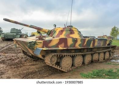 Minsk, Belaraus - October 2, 2012: PT-76 Soviet light floating tank in the Belarusian museum complex Stalin's Line