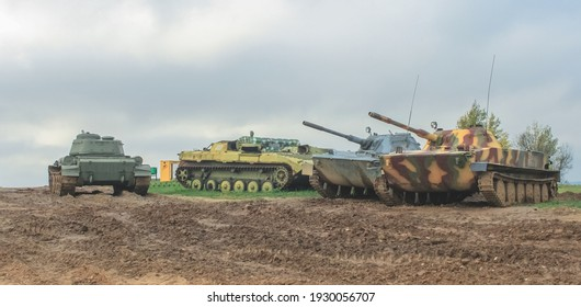 Minsk, Belaraus - October 2, 2012: Soviet T-34 and PT-76 tanks in good technical condition in the Belarusian museum complex Stalin's Line