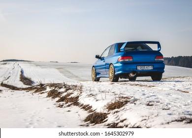 Minsk, Belarus - 02.09.2020: Subaru Impreza WRX STI Type R is driving along a winter road