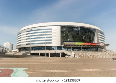 Minsk, Belarus, 03-May-2014: Minsk-Arena - a multi-use indoor arena, one of the venues for the 2014 Ice Hockey World Championship