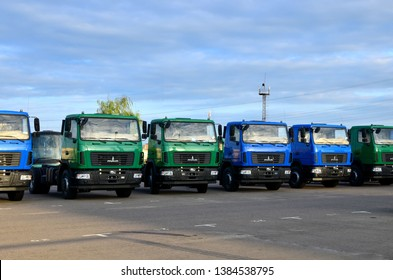 Minsk, Belarus 04/30/2019: New trucks of the Minsk Automobile Plant MAZ