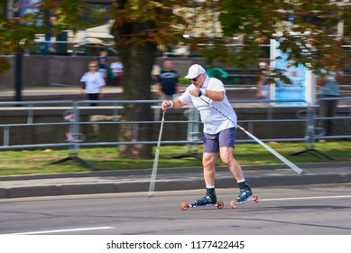 Minsk / Belarus - 09 08 2018: President of the Republic of Belarus Alexander Lukashenko participates in sports competitions dedicated to the city day