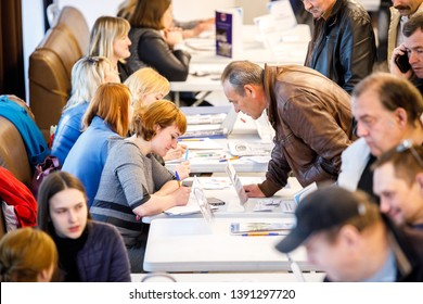 MINSK, BELARUS - 1 MAY, 2019: job fair, unemployed looking for a job